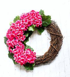 Monogram wreath with geraniums. Pink wreath for Spring. Spring wreath ideas for front door. Door wreath ideas and DIY. Initial Door Wreaths, Monogram Wreath, Monogram Letters, Pink Wreath, Hydrangea Wreath, Pink Hydrangea, Burlap Ribbon, Wreath Ideas, Geraniums