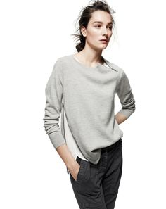 AUG '14 Style Guide: J.Crew women's merino asymmetrical zip sweater.