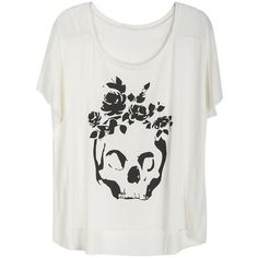 Choies White T-shirt With Rose Skull Print ($20) ❤ liked on Polyvore featuring tops, t-shirts, shirts, white, white shirt, shirts & tops, white t shirt, rose t shirt and rosette top