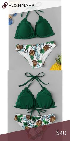 8444c28f49572 Green Scallop Triangle Pineapple Print Bikini Now carrying boutique  swimwear! Green triangle top with