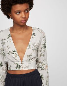 Chemise imprimé floral - Blouses et chemises - Vêtements - Femme - PULL&BEAR France