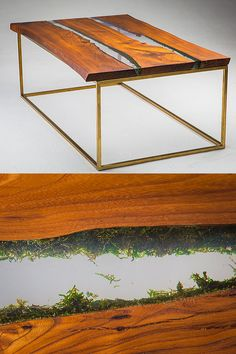 """Table with Moss. A small table of slabs of wood with a """"live"""", natural edges with moss. Two parallel """"Rivers"""" with transparent water made of epoxy resin.  The original base is made of real brass."""