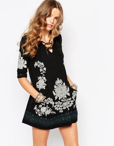 Free People Tunic With Floral Embroidary
