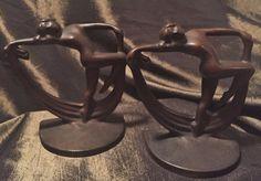 Vintage Bronzed Iron Frankart Bookends, Pair Dancing Nudes w/Scarves             #ArtDeco