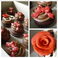 Chocolate Chocolate cupcakes with red chocolate bows and handmade fondant red roses from Truly Great Cupcakes      999818_420216994762784_1866553940_n.png 612×612 pixels