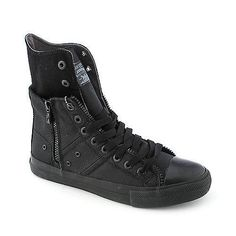 These sneakers are are an edgy twist on a classic look. The Zip Ex Hi features a twill upper, lace-up front, side zipper for easy on/off andalso allows you to easily convert your look from. More Details All Black Sneakers, High Top Sneakers, Classic Looks, Kicks, Lace Up, Zipper, Purses, Easy, Men