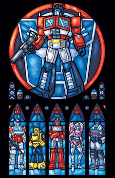 Autobot Transformers Stained Glass Window - Full Size Print. $25.00, via Etsy.