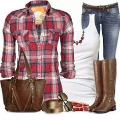Cute fall outfit!  Need some flannel