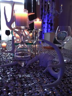 Holiday table, antlers
