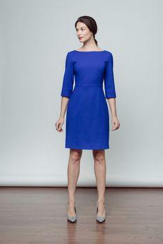 Of Mercer   Madison Long-Sleeved Sheath Dress in Cobalt