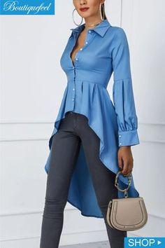 Blusas cola de pato · manga linterna botón diseño dip hem blusa (s/m/l/xl) Trendy Fashion, Womens Fashion, Fashion Trends, Ladies Fashion, Fashion Fashion, Feminine Fashion, Fashion Styles, Mode Inspiration, Minimalist Fashion