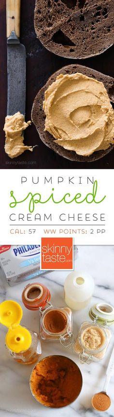 Pumpkin Spiced Cream Cheese –an easy way to enjoy a taste of pumpkin cheesecake for breakfast!