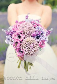 Silk Anemones & Alliums were used to create this stunning Bouquet by Wedding & Events Floral Design