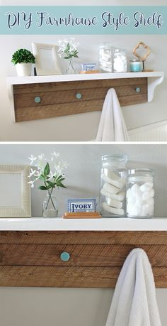 Learn how to build this cute barnwood shelf, perfect for decorating the bathroom or any room really. Get Fixer Upper farmhouse style with this fun DIY project! #designedmega [ad]