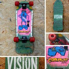 #tomgroholski #jerseydevil #visionskateboards #vintageskateboard #oldschoolskateboard #1980s #1980s #skateboardcollector @theskateboardmuseu... Vision Skateboards, Decks, Old School, Awesome, Vintage, Front Porches, Deck, Vintage Comics, Terraces