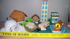 MODEL OF  TYPES OF  HOUSES  using recycled  materials  for school projects--an igloo, wooden  house,hut,tent,caravan, houseboat  ,terraced  house and an apartment. ..