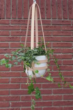 Modern hanging planter nude leather ceiling planter by Amulettes