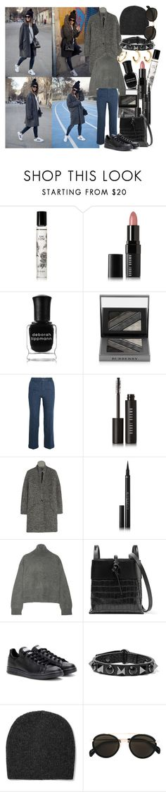 """""""Chic Oversized Coats"""" by brownish ❤ liked on Polyvore featuring Diptyque, Bobbi Brown Cosmetics, Deborah Lippmann, Burberry, M.i.h Jeans, Isabel Marant, Givenchy, Rejina Pyo, Kara and adidas"""