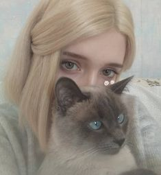Two things, that cat is adorable and I love the color of her hair ❤ Ft Tumblr, Tumblr Girls, Aesthetic Photo, Aesthetic Girl, Blonde Aesthetic, Gothic Aesthetic, Aesthetic Makeup, Pretty People, Beautiful People