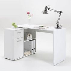 Albea Rotating Corner Computer Desk In White