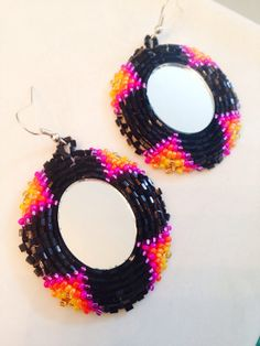 Native American Beaded Earrings mirror set  by KianiKine on Etsy, $30.00