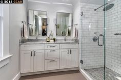 Transitional 3/4 Bathroom with slate floors, Double sink, Restoration Hardware Bistro Traditional Pivot Mirror, Flush