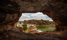 A beautiful view of Badami town from Badami Cave 1