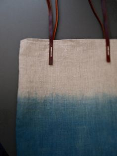 Ombre Misty Ocean Blue Organic dip-dyed natural Indigo linen easy summer tote bag with leather handles by JeannieDeans