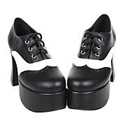 Cool Black and PU Leather 9.5cm Chunky Heel Punk Lolita Shoes