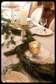 green garland table centerpiece Christmas tablescape