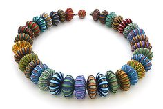 Ford and Forlano: Big Bead Necklace at Facèré Jewelry Art Gallery Modern Jewelry, Jewelry Art, Vintage Jewelry, Handmade Jewelry, Jewelry Design, Polymer Clay Necklace, Polymer Clay Beads, Art Gallery, Clay Design