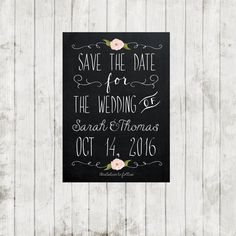 printable save the date, digital save the date, chalkboard save the date, rustic save the date, 7 x 5, you print by OurFriendsEclectic on Etsy