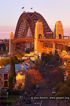 Sydney Harbour Bridge in the Evening from Observatory Hill, Sydney, New South Wales (NSW), Australia