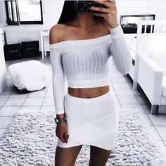 Knitted Pullover top, all white outfit
