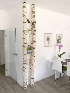 A shelf made of white birch trunks from Birkendoc. There are birch trunks here: a shelf made of white birch trunks from Birkendoc. Birch trunks can be found here: birkendoc.de/shop The post A shelf made of white birch trunks from Birkendoc. Shelves, Interior, Diy Furniture, Gorgeous Houses, Home Decor, Home Deco, Luxury House, Easy Room Decor, Furniture Design