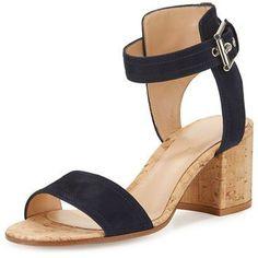 Gianvito Rossi Rikki Low Suede 60mm Chunky-Heel Sandal