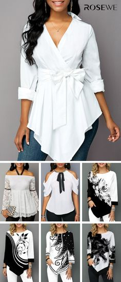 Hot Sale & Belted Turndown Collar Asymmetric Hem Blouse - Do It Yourself Diy Mode, Trendy Tops For Women, Mode Outfits, Women's Fashion Dresses, African Fashion, Plus Size Fashion, Womens Fashion, Fashion Trends, Uk Fashion