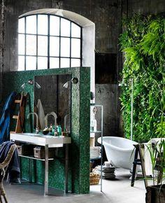 Bohemian style Ikea bath with living plant wall
