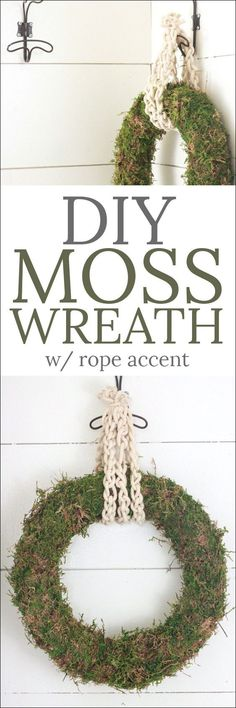 DIY Crafts : DIY Moss Wreath - this simple tutorial is for crafters of all levels! This wreath is perfect for a year around decoration for a fraction of Easy Diy Crafts, Diy Crafts To Sell, Diy Crafts For Kids, Sell Diy, Kids Diy, Moss Wreath, Diy Wreath, Burlap Wreaths, Wreath Ideas
