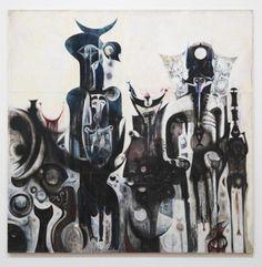 "surrealism: "" Reborn Sounds of Childhood Dreams I by Ibrahim El-Salahi, 1961–5. Enamel paint and oil paint on damouriya, 2.588 X 2.6 Meters. Tate Modern, London, U.K. From Tate.org: "" In Reborn Sounds of Childhood Dreams I 1961–5 ghostly figures with..."