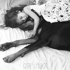 Cutie -and -the -beast -dog -girl -seana -doberman Perro Doberman Pinscher, Cutie And The Beast, Beast Friends, Doberman Love, Panda Wallpapers, Rottweiler, Handmade Dog Collars, Weimaraner, Dog Photos