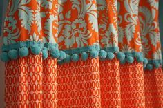 Curtains made of different fabrics connected by pom pom trim. Cute Shower Curtains, Bathroom Curtains, Orange Bedroom Curtains, Window Coverings, Window Treatments, Cortina Boho, Orange And Turquoise, Coral Aqua, Passementerie