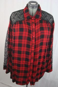 Denim 24/7 Women's Black Lace Sleeves Front/Back Shirt Plus Size 16W Red/Black #Denim247 #ButtonDownShirt #YourChoice