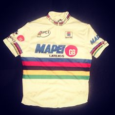 One of our favorites jerseys ! Johan Museeuw World Road Race Champions win 1996 in Lugano riding for Team Mapei  and tonight all eyes on our Cadel Evans ! PS SKCC & BIKELANE will be watching @grosvenorhotel from 9 pm .