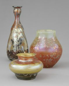 Johann Lötz Witwe, Klostermühle, Iridescent Glass Vases.
