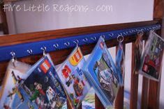 Laminated Lego Books -- Did this a couple weeks ago, because I was tired at looking at ripped page books lying around. You can even print out lost pages on Lego's site. Lego Instruction Books, Lego Storage, Storage Ideas, Kids Storage, Lego Books, Five Little, Toy Rooms, Kids Rooms, Book Organization