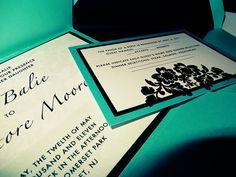 Modern damask wedding invite