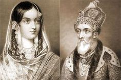 Bahadur Shah Zafar (1775-1862) and his wife Nawab Zinath Mahal Begum (1821-82), the last Mughal emperor and a member of the Timurid Dynasty.