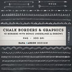 Chalk Borders with Bonus Chalk Arrows AND Bonus Chalkboard Digital Paper for invites, printing, scrapbooking, blogs, clipart, Clip Art