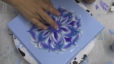(473) Violet ~ Acrylic pour FLOWER painting ~ Cup bottom REVERSE FLOWER DIP